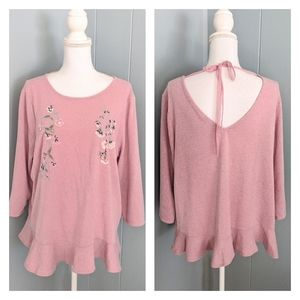 Lauren Conrad XL Pink Floral Embroidered Bead Top